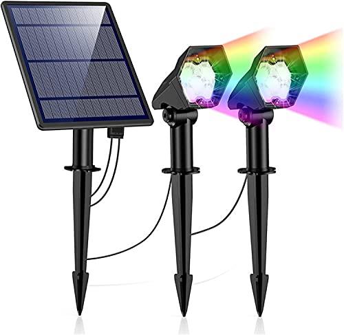 Solar uno a dos focos LED de tierra enchufable luces solares paisaje esquinas, focos exteriores de doble cabeza (RGB colorido)