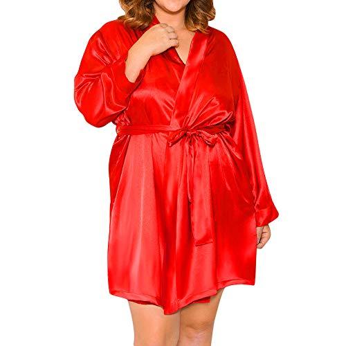 MORCHAN Femmes Sexy en Soie Kimono s'habiller Babydoll Dentelle Lingerie Ceinture Bain Robe de Nuit Soutien-Gorge sous-vêtements Costume du Corps vêtements de Nuit(3XL,T-Rouge)