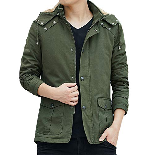 Men Winter Tops Imitation Leather Jacket Biker Motorcycle Zipper Long Sleeve Coat Army Green