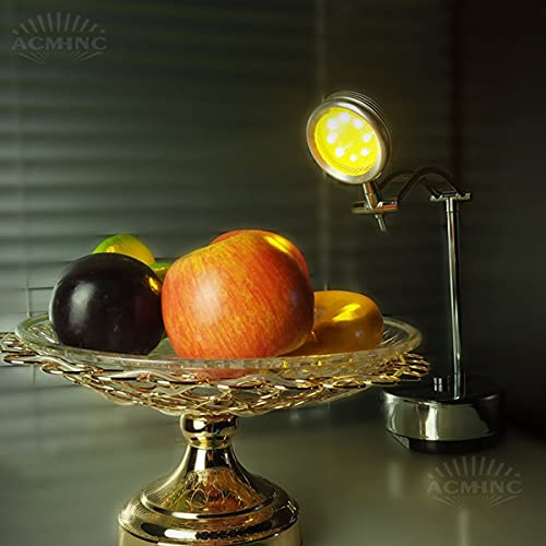 ACMHNC Lámpara de Mesa Restaurante Con Batería Recargable, Lámpara de Escritorio Barra LED Inalámbrica Acero Inoxidable, Lámparas de Mesita Exterior Plegables Ajustables, Luz Cálida