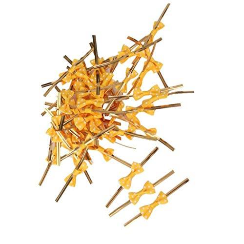 50 Pcs Regalo Arcos Arcos Precinto De Amarre Empate Envases De Regalo Para Cello Panadería Lollipop Del Caramelo Bolsa (amarillo) Ideal Opción Práctica