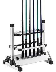 Hengelhouder Aluminium Legering, Hengelstatief voor 12 Hengels, Dubbelzijdige Design Hengelstandaard met Stabiele Basis voor de Meeste Hengels 44,5 X 50 X 32,5 Cm