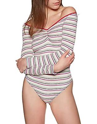 Intimately Free People Womens Put A Stripe On It Stripe Thong Bodysuit Multi L