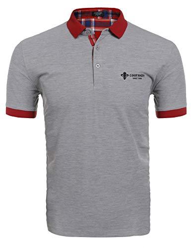 COOFANDY Herren Poloshirt Kurzarm Einfarbig Sommer T-Shirt Men's Polo Shirt(Grau,L)