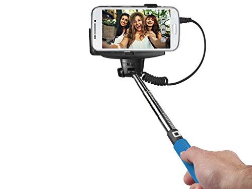 SBS Asta Selfie Universale per Smartphone, Cavo Jack 3.5, Telescopica Fino a 1 Metro, Adattatore in Gomma, Pulsante sull'Asta, Azzurro