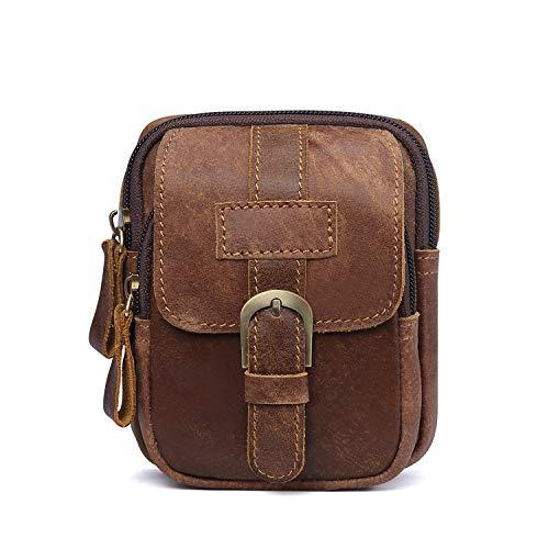 FANDARE Riñonera Cuero Bolsa Bolso de Cintura Impermeable Waist Bag para Phone, Partido,Viaje,Correr Marrón