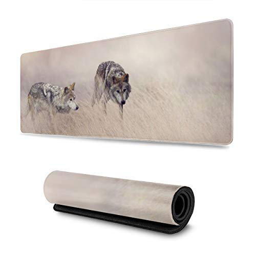 Wolves Design Pattern XXL XL Large Gaming Mouse Pad Mat Long Extended Mousepad Desk Pad Non-Slip Rubber Mice Pads Stitched Edges (31.5x11.8x0.12 Inch)