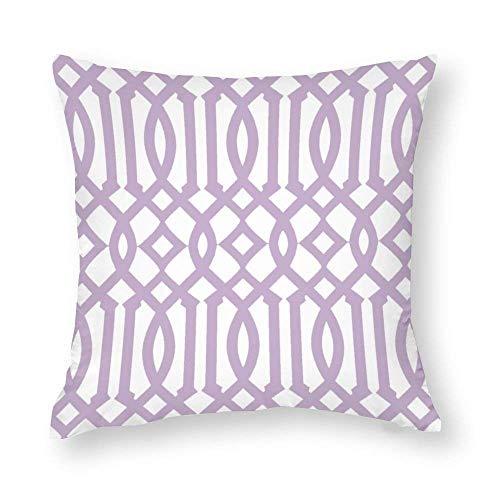 EU Modern White and Lilac Purple Imperial Trellis Throw Pillow Covers Case Cushion Pillowcase with Hidden Zipper Closure for Home Decor 18 x 18 Inches
