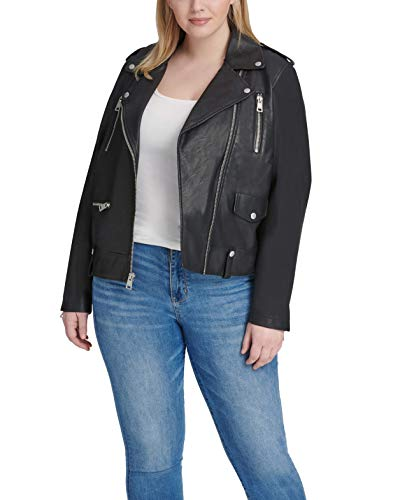 Levi's Women's Plus Size Faux Leather Contemporary Asymmetrical Motorcycle Jacket, Midnight Black, 2X