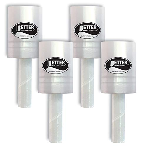 4 Pack Mini Stretch Wrap with Easy Grip Handle, Self-Dispensing, 5 in x 1000 ft Per Roll, 80 Gauge, Mini Shrink Wrap, Industrial Mini Stretch Wrap Film, for Moving and Shipping, 4 Pack