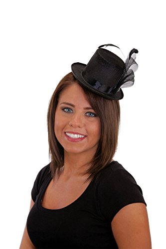Jacobson Hat Company Pearl and Feather Black Mini Top Hat,One Size