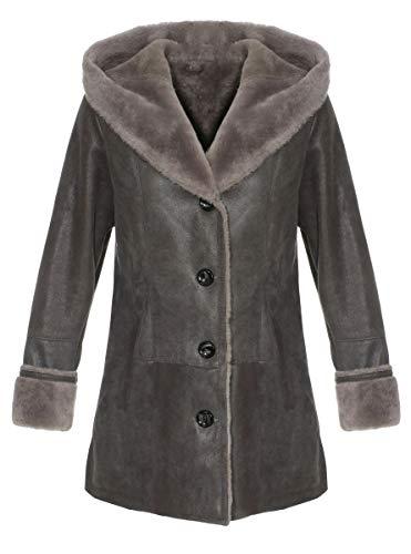 Hollert Bionda Lamsvachtjas voor dames, grijs, vachtjas van Merino schapenvacht, lederen jas met capuchon, winterjas