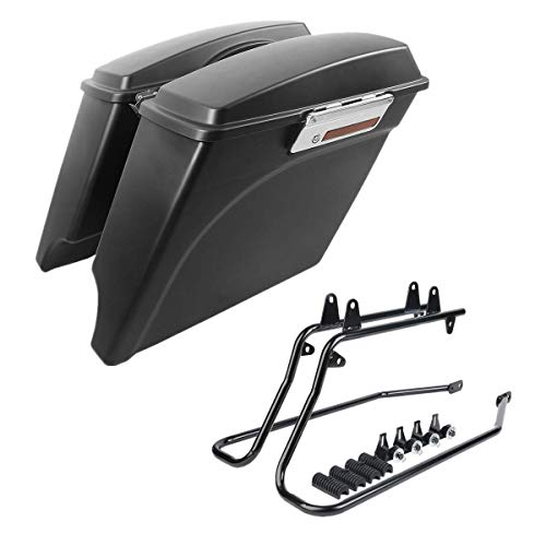 Green-L Matte Black 5' Stretched Hard Saddlebags with Conversion Brackets Fit for Harley Softail Heritage Deluxe Models 1986-2013