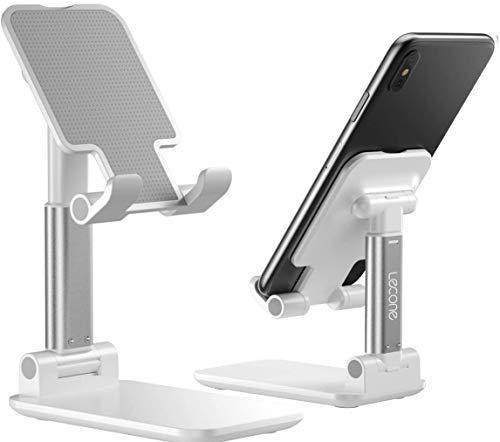 Lecone Soporte ajustable para teléfono celular, soporte de silicona antideslizante plegable, soporte de metal resistente para teléfono celular para escritorio, compatible con Samsung Galaxy iPad Mini iPhone X / XR / XS max, todos los teléfonos inteligentes (Blanco)