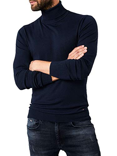 Petrol heren trui Basic Turtleneck