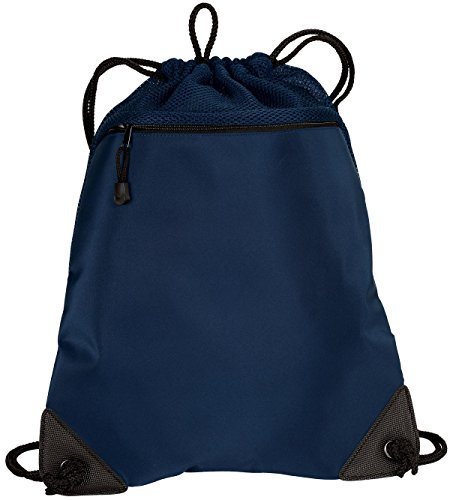 Port Authority Cinch Pack with Mesh Trim, Navy, One Size