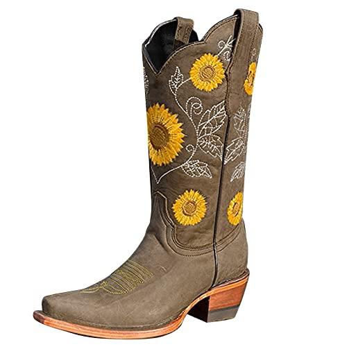 NYYY Botas de mujer de talla grande con tacón grueso, redondas, con puntera bordada, botas cortas para mujer, zapatos de tacón alto, zapatos informales para mujer, marrón, 41 EU