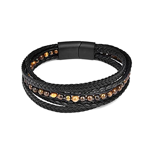HEMOTONE Mode Natürliche Stein Perlen Männer Armband Multilayer Leder Armband Punk Schmuck Edelstahl Magnetische Schließe Armreifen (Length : 18.5cm, Metal Color : Rhodium Plated)