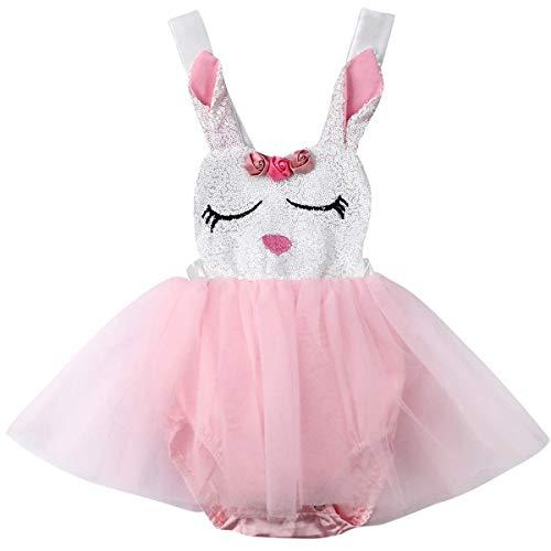 WangsCanis Baby Mädchen Osterhasen Outfits Kaninchen Ostern benutzerdefinierte Strampler Tutu Einteiliges Kleid Bodysuit (0-6 Monate/70)