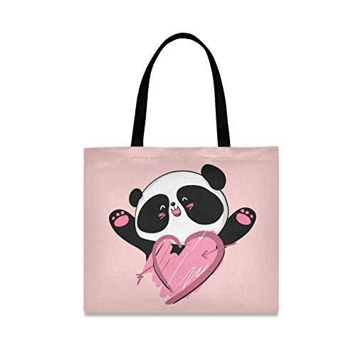 RURUTONG Lindo Panda Lona Bolso para las Mujeres Niñas Animal Corazón Rosa De Dibujos Animados Bien Hecho Multiusos Reutilizables De La Playa De La Compras Bolso 2010130