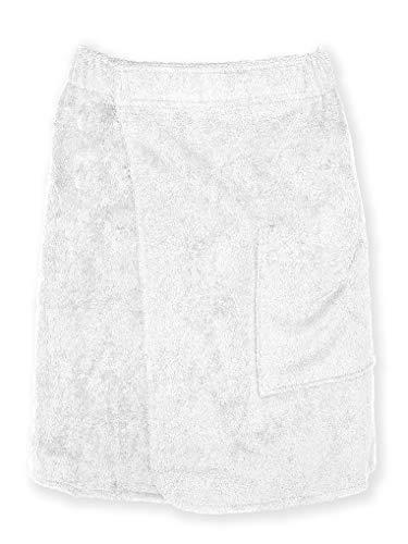 Arus Saunakilt für Herren, 100% Bio-Baumwolle-Frottee, Knielang, mit Gummizug und Klettverschluss, Saunatuch, Badehandtuch, Größe: P/S, Farbe: Weiß