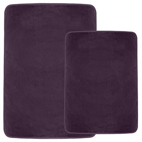 Clara Clark Non Slip Memory Foam Tub-Shower Bath Rug Set, Includes 1 Small Size 17 x 24 in. 1 Large Size 20 X 32 in. - Dark Purple