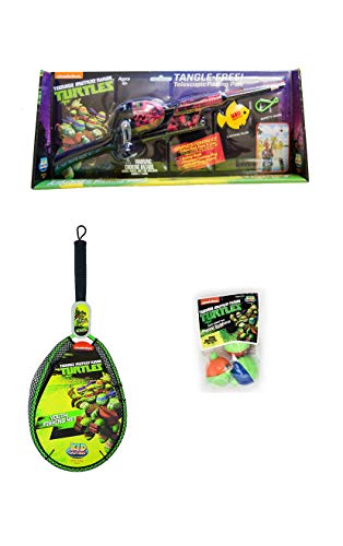 Teenage Mutant Ninja Turtles - Kids Fishing Kit - Telescopic No Tangle Fishing Rod/Pole, Fishing Net, Bobbers