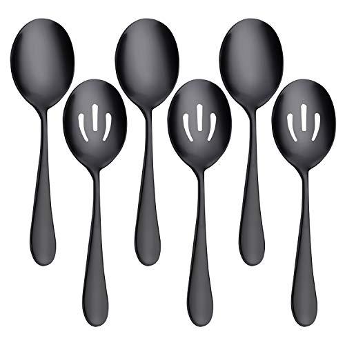 AOOSY cuillères à Servir x 3, cuillères à Fentes x 3, 8,7 Pouces Grand cuillère à Buffet en Acier Inoxydable écumoire cuillères à Servir cuillères à Soupe Cuisine Cuisine Ensemble de 6 (Noir)