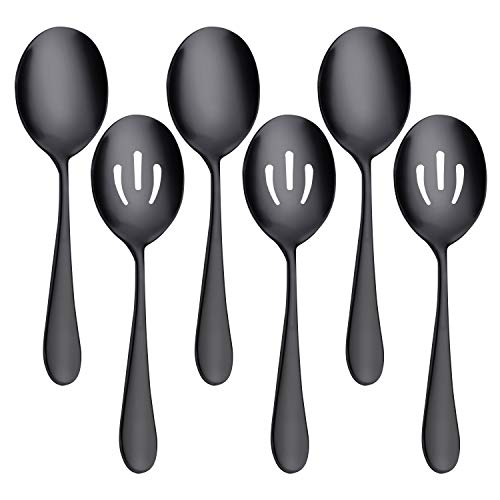 AOOSY Serving Set,Serving Spoons x 3, Slotted Spoons x 3, 8.7 inches Large Stainless Steel Buffet Spoon Skimmer Perforated Serving Spoons Tablespoons Banquet Cooking Kitchen Set of 6(Black)