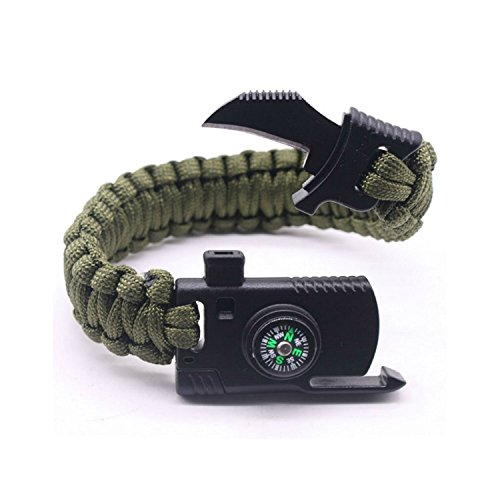 1 Pc Compass Flint Scraper Fire Starter Whistle Bracelets, 5 in 1 Paracord Survival Bracelets Emergency Survival Travel Kits Backpack Bag Parts Accessories for Men and Women(Army Green)