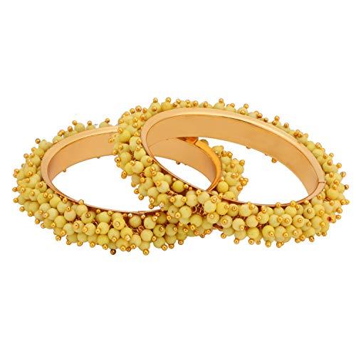 Efulgenz Modeschmuck Indische Bollywood 14 K Gold plattiert Multicolor Kunstperlen Perlen Hochzeit Braut Armband Armreif (2 Stück)