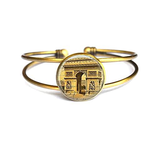 París brazalete de cristal pulsera de París joyería redonda de cristal cúpula cabujón regalo de cumpleaños regalo de Navidad para mujeres, PU390