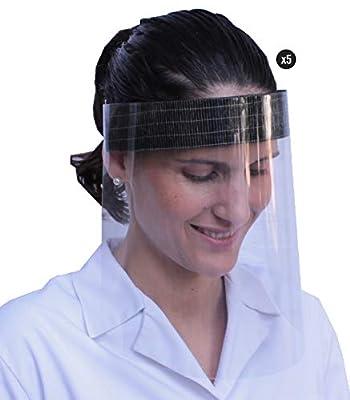 Pack de 5 viseras de protección facial pensadas para proteger la boca, naríz, ojos y cara de cualquier contacto o salpicadura. Es una protección fiable contra la transmisión de gotas a través del aire. Material resistente y desinfectable. La visera d...
