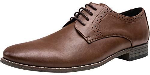 Jousen Men's Oxford Plain Toe Dark Brown Dress Shoes Classic Formal Derby Shoes(5A093new Dark Brown 9)