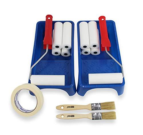 MAXI KIT - 2 rouleaux de peinture petite + 10 pièces de rechange en mousse de 11 cm + 2 plateaux de peinture + 2 pinceaux no25 + ruban de masquage