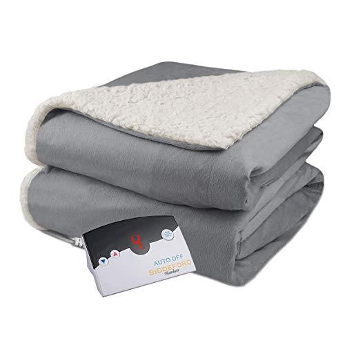 Biddeford Velour Sherpa Electric Heated Warming Blanket Full Gray Washable Auto Shut Off 10 Heat Settings