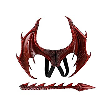 BaronHong Halloween Mardi Gras Costume Cosplay Demon Dragon Wings for Adult  Wing+Tail -red,M