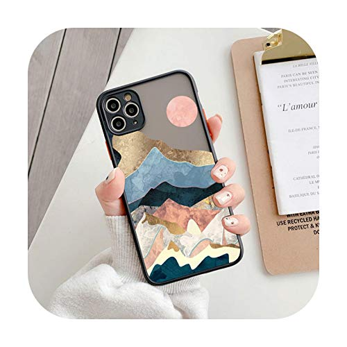 Funda de teléfono con patrón de arte de moda para iPhone 11 12 Pro Max X XR Xs Max Hard PC mate transparente contraportada para iPhone 7 8 Plus-IU3425-para iPhone 12 Mini