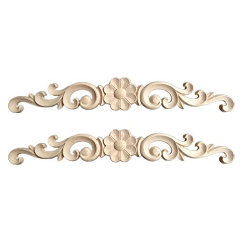 HEALLILY 2 piezas de madera tallada apliques onlay muebles esquina onlay calcomanías marco decorativo flor apliques para armario puerta armario