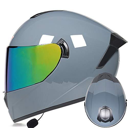 ZLYJ Cascos Integrales Casco Bluetooth Integrado para Motocicleta Lentes De Colores Aprobados por ECE Casco Abatible Casco Protector con Auricular Bluetooth 29,XL(61-62cm)