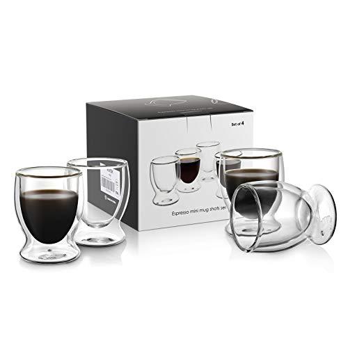 VEVOUK Juego de 4 tazas de vidrio aisladas de doble pared, 90 ml, 3 onzas, tazas de café y café con leche, juego de regalo para el hogar