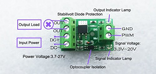 NOYITO Optocoupler Isolation MOS FET 10A DC 2.7 to 27V High Power Field Effect Tube Driver Module 0 to 20 Khz PWM Switch Control Board Development Board Module