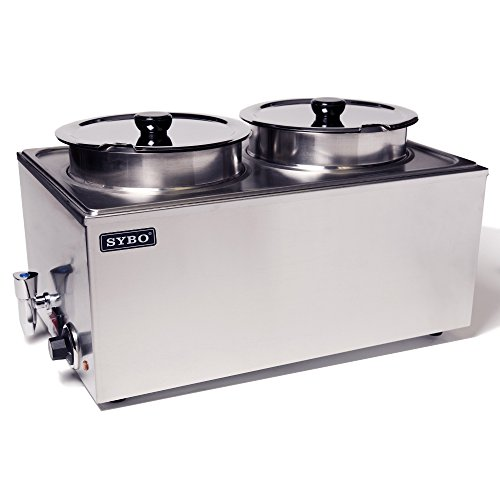 SYBO ZCK165BT-4 Commercial Grade Stainless Steel Bain Marie Buffet Food Warmer Steam Table for Catering and Restaurants, 2 Round Pots with Tap, Brushed Finish