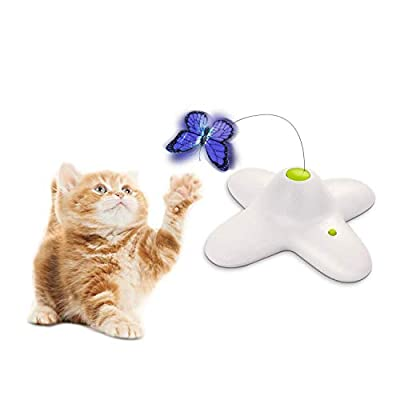 ALL FOR PAWS Interactive Cat Butterfly Toy with Two Replacement Flashing Butterflies Toy (Butterfly)