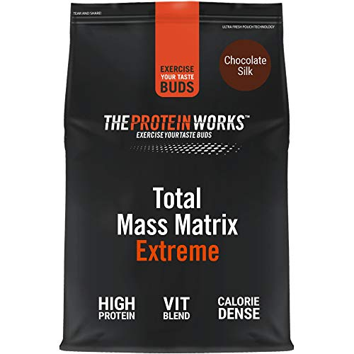 THE PROTEIN WORKS Total Mass Matrix Extreme Proteinpulver | Mass Gainer | Kalorienreicher Weight Gainer | Mit Glutamin, Creatin & Vitaminen | Chocolate Silk | 4.24kg