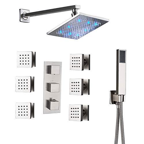 Rozin Bathroom Thermostatic LED Light 8-inch Rainfall Shower Faucet Set Massage Body Sprays with...