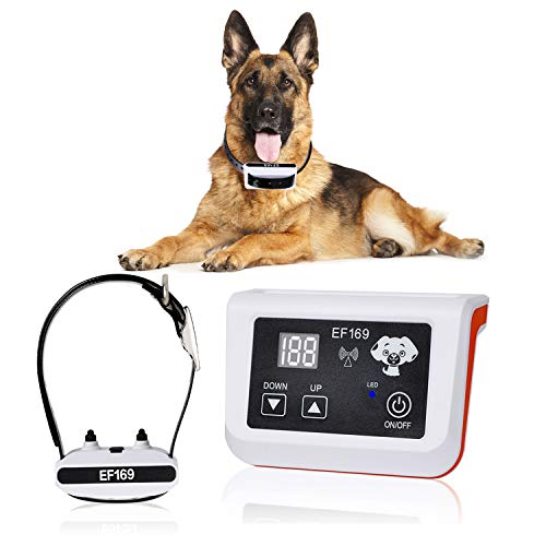 New Wireless Dog Fence, Pet Containment System, Pets Dog Containment System Boundary Container with IP65 Waterproof Dog Training Collar Receiver, Adjustable Range, Harmless for All Dogs.White
