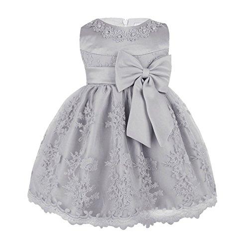YiZYiF Baby Mädchen Kleid Prinzessin Hochzeits Taufkleid Blumenmädchen Kleider Party Festlich Kleid Festzug Kleidung Kleinkind (68-74, Grau)