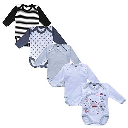 MEA BABY Unisex Baby Langarm Body aus 100{5c3f49856add1407ce005f0712626766d9f67c8e2f27f864b0c524f62aecdb90} Baumwolle im 5er Pack, Baby Body mit Aufdruck, Baby Body für Mädchen , Baby Body für Jungen (86, Jungen 2)