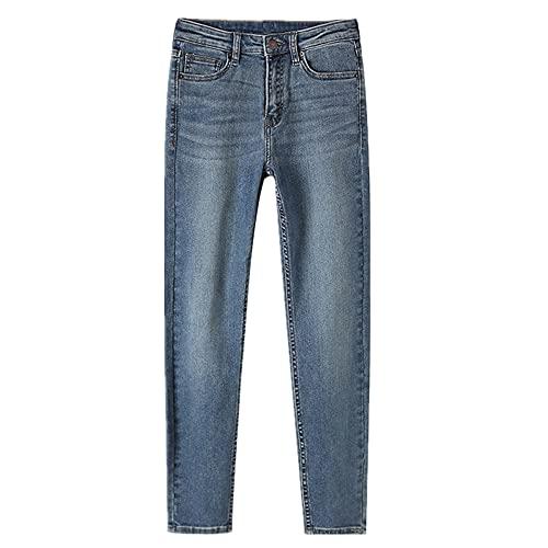 N\P Jeans Mujer Primavera Cintura Alta Elástico Slim Fit Pequeño Pie Lápiz Pantalones Jeans Mujer, Azul2, XL
